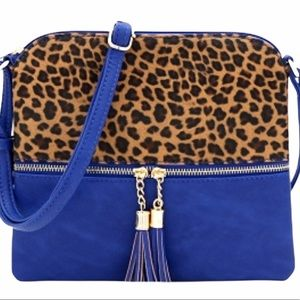 Blue Leopard Animal Print Handbag Purse Bag